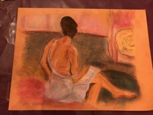 Pastel femme assise